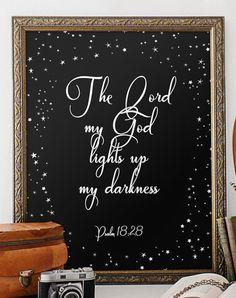 Nursery Bible Verses, Bible Verse Art, Bible Scriptures, Psalm 18 28, Inspirational Bible Quotes, Motivational, Christian Wall Decor, Chalkboard Art, New Wall