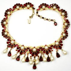 Trifari Gold Rubies and Pearls Multiple Pendants Necklace | eBay
