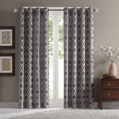 Madison Park Bergamo Ogee Chenille Curtain Panel (52x95 Grey), Size 52 x 95 (Polyester, Geometric)