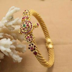 Beautiful one gram gold dialy wear bangle with screw back. Bangle studded with pink color stones. Beautiful one gram gold dialy wear bangle with screw back. Bangle studded with pink color stones. Gold Bangles For Women, Mens Gold Bracelets, Gold Bangles Design, Gold Jewellery Design, Bangle Bracelets, 1 Gram Gold Jewellery, Gold Jewelry, Gold Necklaces, Wedding Jewelry