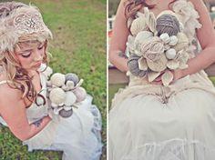Repin: ball of yarn bouquet {sassyfras studios} via Green Wedding Shoes