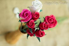 (4) Name: 'Crocheting : Crochet Rose Flower - Closed (Cup Shape)