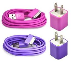 Case Star 2 pieces USB Wall Charger, 2pieces 6 Feet Long USB Charge and Sync Data Cable for iPhone and iPod, Case Star Cellphone Bag, Hot Pink, Purple - http://www.lowpricecables.com/cell-phone-cables/cell-phone-cables-iphone/ipad-cables/case-star-2-pieces-usb-wall-charger-2pieces-6-feet-long-usb-charge-and-sync-data-cable-for-iphone-and-ipod-case-star-cellphone-bag-hot-pink-purple/