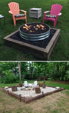 DIY fire pit designs ideas - Do you want to know how to build a DIY outdoor fire pit plans to warm your autumn and make s'mores? Find inspiring design ideas in this article. Diy Fire Pit, Fire Pit Backyard, Backyard Patio, Backyard Landscaping, Gravel Patio, Railroad Ties Landscaping, Desert Backyard, Backyard Fireplace, Backyard Designs