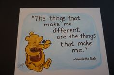 Classic Winnie the Pooh with a jar of honey, quote The things that make me different by MoonbeamsBearDreams on Etsy
