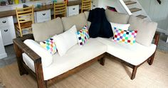 A DIY tutorial to build a sectional sofa using a crib mattress.
