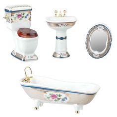 White Porcelain with Gold Trim Bathroom Set Miniature Dollhouse Furniture, Wooden Dollhouse, Dollhouse Miniatures, Victorian Bedroom Set, Bathroom Accessories, Home Accessories, Doll House Flooring, Floral Bath, Bathroom Sets