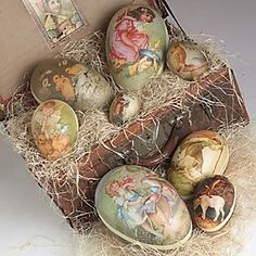 tin egg candy containers