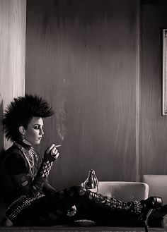 Lisbeth Salander (Noomi Rapace), actress, Stieg Larsson, brilliant, strong character, photography, black and white, goth