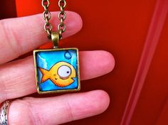 Antiqued Brass Necklace  Square Goldfish by MadShinyShoppe on Etsy, $20.00