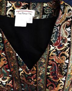 TALBOTS Women's Sz 10 Vest - Beautifully Designed Black w/ Metallic Gold Thread #Talbots