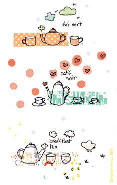 Le lapin dans la lune - Non dairy Diary - tea and coffee love washi doodles