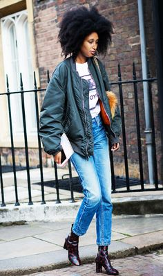 """Who What Wear highlights the MA-1 Flight Jacket in an article titled, """"Genius Outfit Ideas for When You're Running 15 Minutes Late."""""""