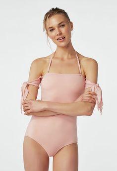 95e6912b916 Off Shoulder Tie Sleeve Flattering Swimsuit in Mellow Rose JustFab #swimsuit  #swimwear #summerstyle