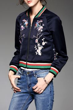 Zip Front Embroidered Jacket