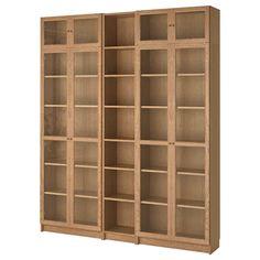BILLY / OXBERG oak veneer oak, Bookcase, 200x30x237 cm - IKEA Glass Bookcase, Ikea Bookcase, Billy Oxberg, Behind The Glass, Ikea Billy, Particle Board, Fibres, Lovers, Side Board