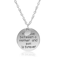 Mother and Son Necklace - Silvertone Charm Necklace with Engraved Message - Gift for Mom - Pop Fashion