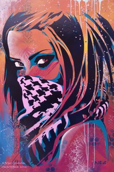 Bryce Chisholm,*abcartattackon deviantART, is a mixed-media stencil artist. His intricate paintings are filled with vibrant colors and pop influences. While exploring the history and unknown parts of his favorite cities, he is on a constant search for beauty. He mixes these influences with the familiar faces of his daughter and wife, creating delightfully playful work. Make sure to take a look at hisdeviantART gallery.