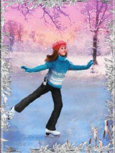 ❄️ WINTER ICE SKATING GIF ❄️
