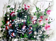 'Pink Fuchsia'An ... Irish Art, Acrylic Art, Contemporary Paintings, Watercolor Art, Christmas Wreaths, Halloween, Holiday Decor, Paper, Floral