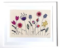 Wildflowers 8x10 framed wall art picture gift, stitched fabric applique embroidery. Flower floral meadow seed heads textile art.