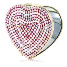 Pink Heart Shape Purse Mirror with Swarovski Crystals. Stunning compact mirror embellished artfully with Light Rose Aurore Boreale ( L/Rse AB ) covering the front of the heart. The base shown is made of gold metal and is also available in silver metal. Ch