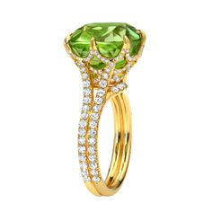 1stdibs.com | TAMIR Exceptional Peridot and Diamond Ring.