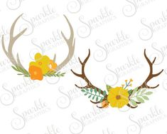 Fall Antler Cut File Floral Fall SVG Fall Antler Fall Flowers Foliage Clipart Svg Dxf Eps Png Silhouette Cricut Cut File Commercial Use SVG