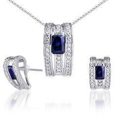 BESTSELLER! Breathtaking & Vibrant Radiant Cut Created Blue Sapphire Pendant Earrings Set in Sterling Silver Rhodium Finish $69.99