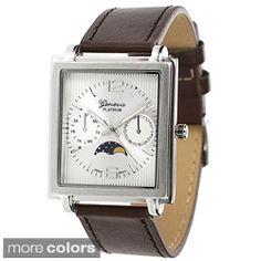 Geneva Platinum Men's Leather Band Watch