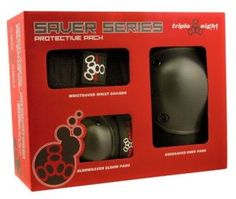 Triple Eight Saver Series Pads Combo Pack (Knees, Elbows, Wrists) The Triple Eight Saver Series Pads Combo Pack is an inexpensive way to own an instant set of protective gear. The Triple Eight Saver c Roller Derby, Roller Skating, Roller Sports, Fitness Stores, Skate Store, Inline Skating, Six Pack Abs, Some Body, Packaging