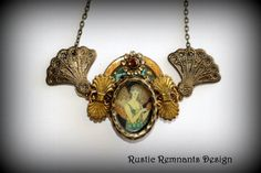 Art Deco Collage Necklace by RusticRemnantsDesign on Etsy, $30.00