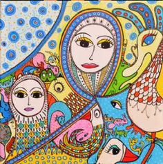Kunstsamlingen   Artist: Barbara Kaad Ostenfeld   Title: Fantasidyrenes Invasion   Height: 50cm,  Width: 50cm   Find it at kunstsamlingen.com #kunstsamlingen #kunst #artcollection #art #painting #maleri #galleri #gallery #onlinegallery #onlinegalleri #kunstner #artist #danishartists #bakaos