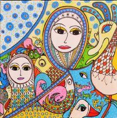 Kunstsamlingen | Artist: Barbara Kaad Ostenfeld | Title: Fantasidyrenes Invasion | Height: 50cm,  Width: 50cm | Find it at kunstsamlingen.com #kunstsamlingen #kunst #artcollection #art #painting #maleri #galleri #gallery #onlinegallery #onlinegalleri #kunstner #artist #danishartists #bakaos