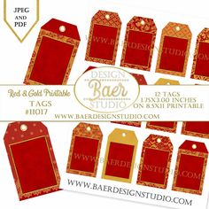 Red and Gold Printable Tags, Chinese New Year Printable Tags, Gift Tags, Jewelry Cards, Thank You Tags, Wedding Favor Tags, #11017 by BaerDesignStudio on Etsy