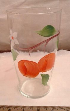 Vintage Retro Hand Painted Fruit on Clear Glass Vase