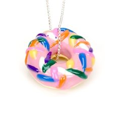Pink Frosted Donut with sprinkles necklace by Calourette