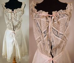 Edwardian White Cotton Batiste Lace Teddy Camiknickers Camisole Bloomers Vtg