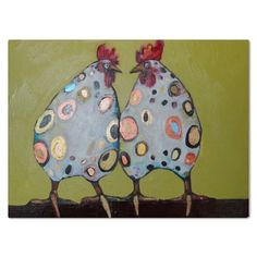 Two Spotted Chickens - Eli Halpin's Glass Cutting Boards - Printfection.com $49.99