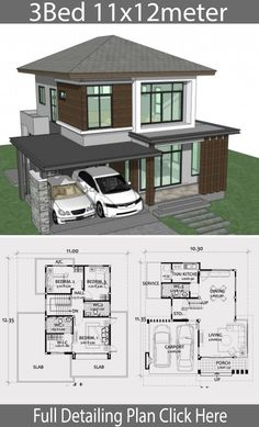 Home design plan with 3 bedrooms. A small, modern tropical style house In modern style, hot country style Downstairs with a medium living room Contemporary House Plans, Modern House Plans, Small House Plans, Modern House Design, 3 Bedroom Home Floor Plans, Home Design Floor Plans, House Floor Plans, The Plan, How To Plan