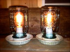 Repurposed Chicken Feeder Lamps / Vintage Blue Mason Jar Repurposed light. $45.00, via Etsy.