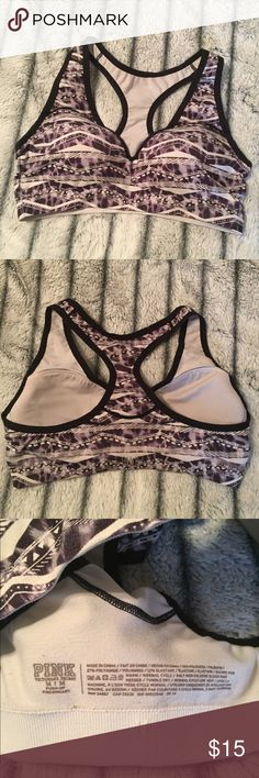 VS PINK Push up sports bra Excellent condition, push up sports bra in a black and white Aztec print. No flaws. PINK Intimates & Sleepwear