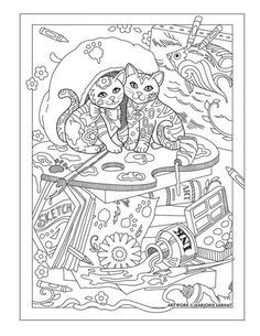 Artist Cats Pampered Pets Adult Coloring Book By Marjorie Sarnat Davlin Publishing