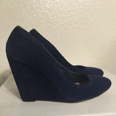 Jessica Simpson Navy Blue Wedges Navy Blue Suede pointed closed-toe wedges. Worn only once. Don't have the box but in good condition. Jessica Simpson Shoes Wedges