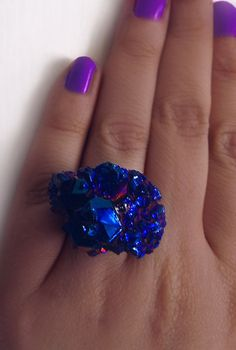 Druzy ring crystal ring boho ring blue by CindersJewelryDesign, $30.00