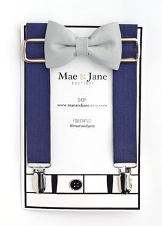 This listing is for a set of navy blue suspenders and a light gray bow tie in the size of your choice.  This suspender and bow tie set is the perfect