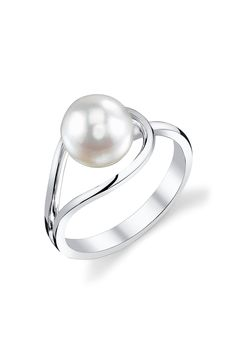 14K White Gold 8mm White South Sea Pearl Ring