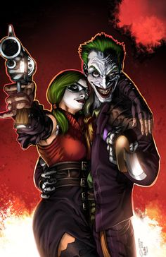 Harley Quinn and Joker (Swap the gun and sword and you've got hubby and I )