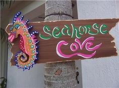 Painted Tropical Signs | Tropical Rustic Seahorse Cove Wood Sign HP | eBay