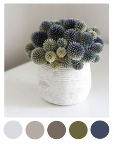 Spring thistle color palette (grey, beige, green, navy) this would be a nice palette for our master bedroom!